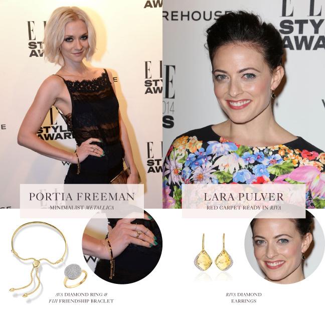 Portia Freeman and Lara Pulver wear Monica Vinader Diamonds at the Elle UK Style Awards