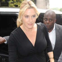 Kate Winslet wears Monica Vinader Riva Diamond Hoop Chain Bracele and Riva Diamond Shore Chain Bracelet in London 2013.