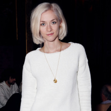 Portia Freeman wears the Riva Large Plain Pendant and Riva Diamond Hoop Pendant at the Pringle Of Scotland AW 2014 Presentation.