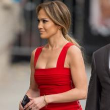 Jennifer Lopez looks beautiful in Monica Vinader Fiji Diamond Bar Bracelet to the taping of Jimmy Kimmel Live in LA