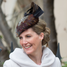 Sophie, Countess of Wessex wears Monica Vinader Siren Stud earrings in Aquamarine to the Royal Family Easter Service in Windsor.