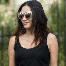 Tina Leung wears the Monica Vinader Alphabet T Pendant to Paris Couture Week.