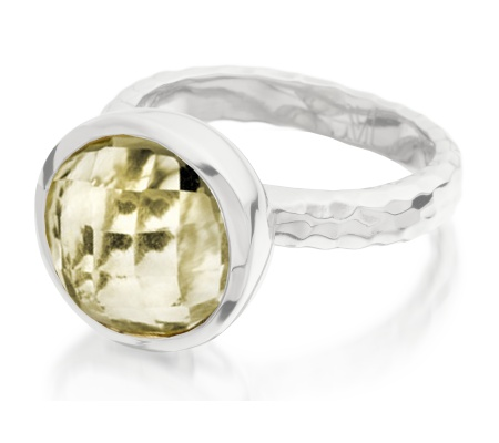 Medina Round Facet Ring - Green Gold Quartz - Monica Vinader