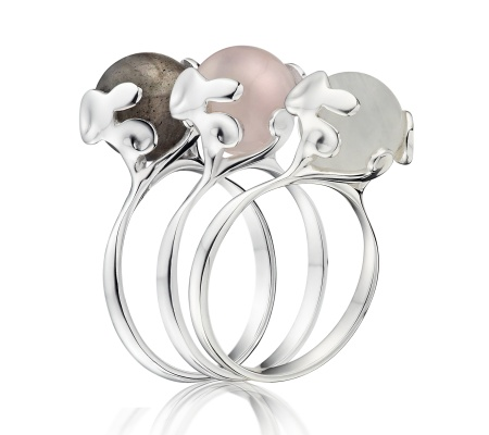 SS Lace Stacking Ring - Rose Quartz - Monica Vinader