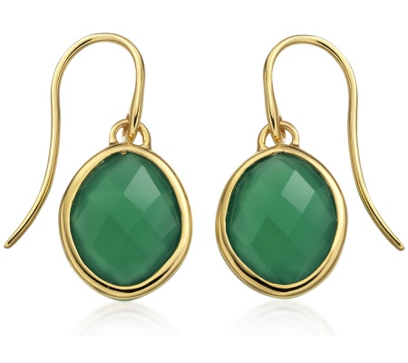 GP Nugget Wire Earrings - Green Onyx - Monica Vinader