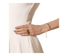 Gold Vermeil Baja Chain Bracelet - Grey Agate - Monica Vinader