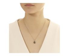 Rose Gold Vermeil Siren Medium Bezel Pendant - Labradorite - Monica Vinader