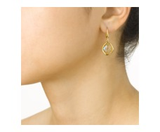Gold Vermeil Riva Lemon Quartz Wire Earrings - Monica Vinader