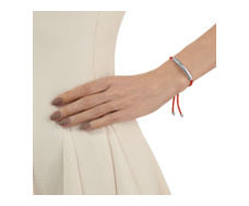 Silver Esencia Friendship Bracelet Coral Red