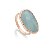 Rose Gold Vermeil Capri Ring - Aquamarine - Monica Vinader