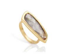 Gold Vermeil Riva Labradorite Stick Ring - Monica Vinader