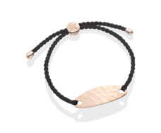 Rose Gold Vermeil Bali Friendship Bracelet - Black Cord - Monica Vinader