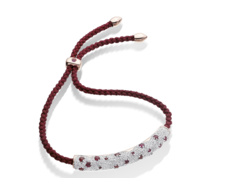 Rose Gold Vermeil Esencia Diamond Pave Friendship Bracelet - Ruby - Monica Vinader