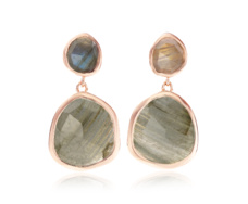 Rose Gold Vermeil Siren Medium Drop Earrings - Labradorite - Monica Vinader