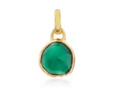 Gold Vermeil Mini Siren Bezel Pendant - Green Onyx - Monica Vinader