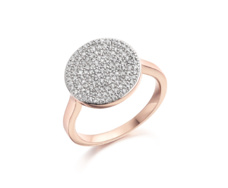 Rose Gold Vermeil Ava Diamond Disc Pave Ring - Monica Vinader
