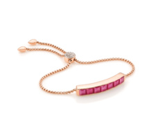 Rose Gold Vermeil Baja Precious Bracelet - Ruby & Diamonds - Monica Vinader
