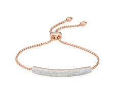Rose Gold Vermeil Esencia Pave Bar Bracelet - Diamond