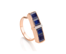 Rose Gold Vermeil Baja Precious Ring - Blue Sapphire & Diamond