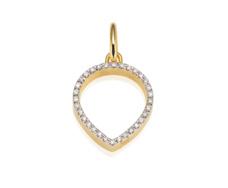 Gold Vermeil Diva Lotus Open Pendant - Diamond