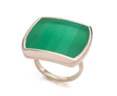 Rose Gold Vermeil Baja Square Ring - Green Onyx - Monica Vinader