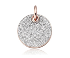 Rose Gold Vermeil  Ava Disc Pendant - Diamond - Monica Vinader