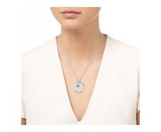 Siren Medium Bezel Pendant - Aquamarine