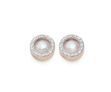 Rose Gold Vermeil Diva Circle Stud Earrings - Moonstone and Diamonds Front