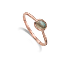 Rose Gold Vermeil Siren Small Stacking Ring - Labradorite