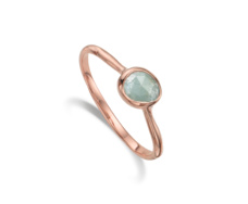 Rose Gold Vermeil Siren Small Stacking Ring - Aquamarine