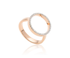 Rose Gold Vermeil Diva Circle Open Ring - Diamond