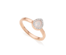 Rose Gold Vermeil Diva Mini Lotus Ring - Diamonds & Moonstone