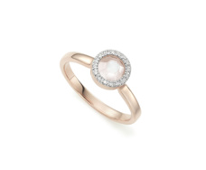 Rose Gold Vermeil Diva Mini Circle Ring - Moonstone and Diamonds