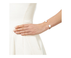 Rose Gold Vermeil Atlantis Cuff - White Chalcedony Model
