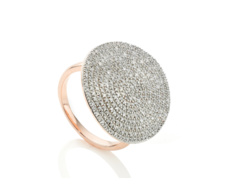 18ct Rose Gold Vermeil Ava Diamond Disc Cocktail Ring - Monica Vinader