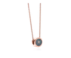 Rose Gold Vermeil Evil Eye Necklace - Blue & White Diamonds Detail