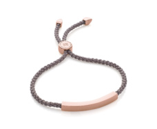 Rose Gold Vermeil Linear Friendship Bracelet - Mink Cord