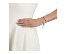 Gold Vermeil Linear Friendship Bracelet - Dark Wine Cord model