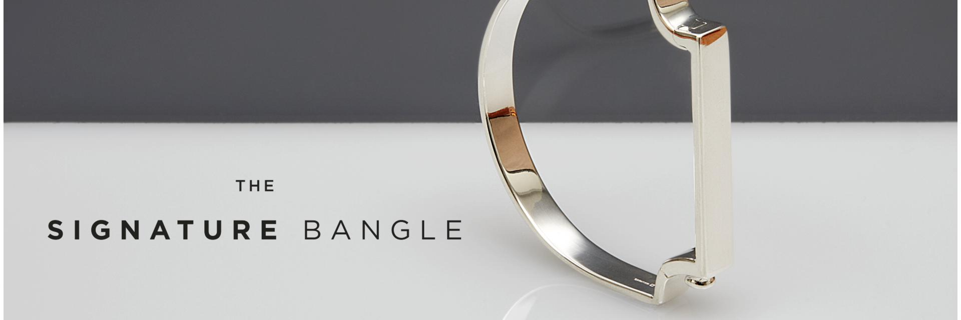 Signature Bangle in 18ct Rose Gold, Yellow Gold and  Sterling Silver with or without pavé set diamonds