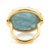 Gold Vermeil Siren Cocktail Round Ring - Aquamarine back