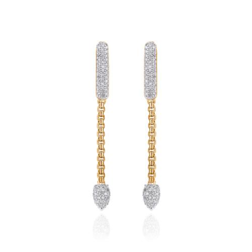 Gold Vermeil Skinny Bud Short Full Diamond Earrings - Monica Vinader