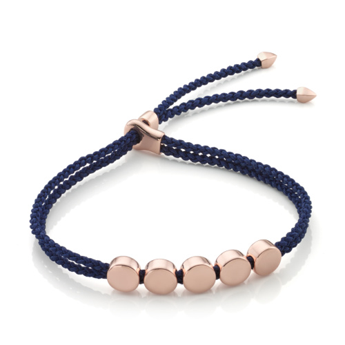 Rose Gold Vermeil Linear Bead Friendship Bracelet - Navy Blue - Monica Vinader