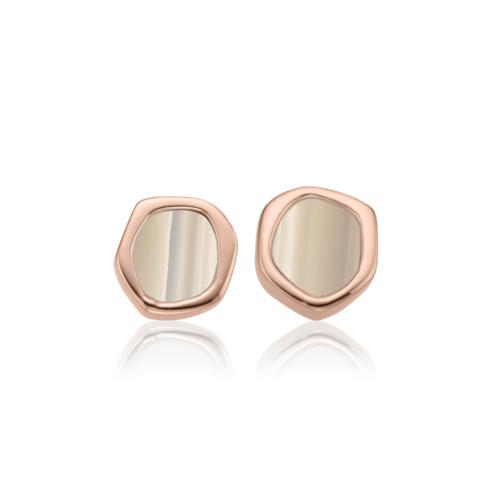 Rose Gold Vermeil Atlantis Earrings - Grey Agate - Monica Vinader
