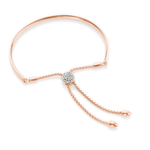Rose Gold Vermeil Fiji Diamond Toggle Bracelet - Diamond - Monica Vinader