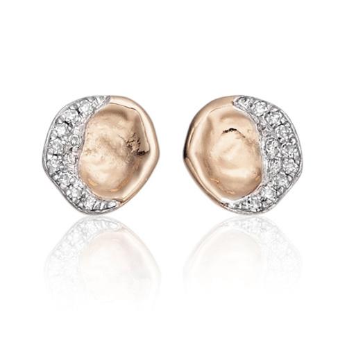 Rose Gold Vermeil Riva Diamond Shore Stud Earring - Diamond - Monica Vinader