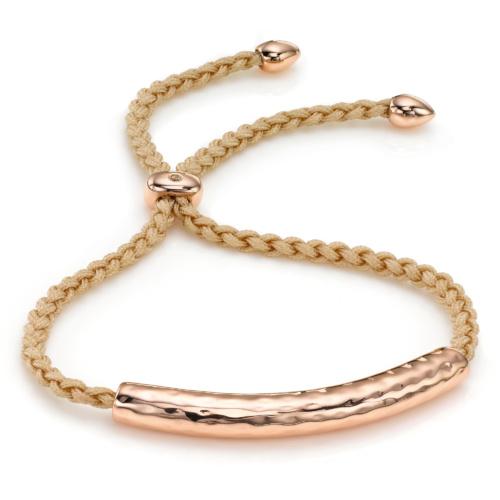 Rose Gold Vermeil Esencia Friendship Bracelet - White Topaz - Nude - Monica Vinader