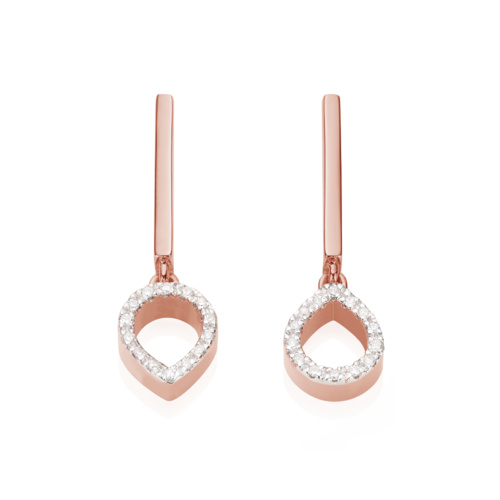 Rose Gold Vermeil Naida Mini Lotus Open Drop Earrings - Diamond Front