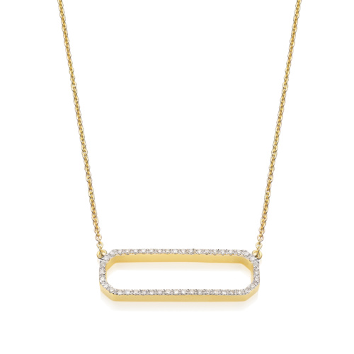 Gold Vermeil Naida Rectangle Open Necklace - Diamond