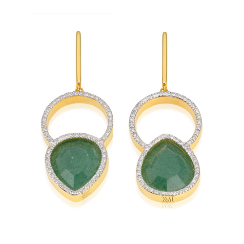 Gold Vermeil Naida Kiss Cocktail Earrings - Green Aventurine and Diamonds