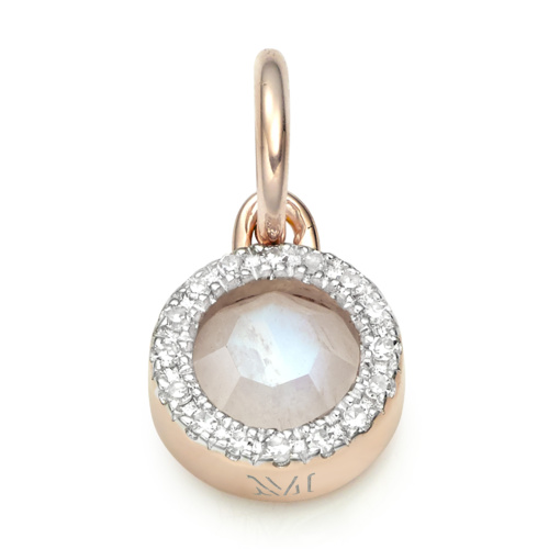 Rose Gold Naida Mini Circle Pendant - Moonstone and Diamonds